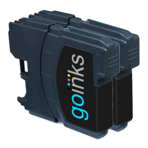 2 Go Inks Black Ink Cartridges to replace Brother LC980Bk & LC1100Bk Compatible / non-OEM for Brother DCP & MFC Printers