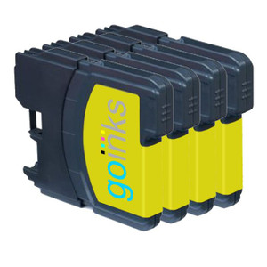 4 Go Inks Yellow Ink Cartridges to replace Brother LC980Y & LC1100Y Compatible / non-OEM for Brother DCP & MFC Printers