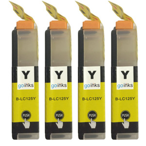 4 Go Inks Yellow Ink Cartridges to replace Brother LC125XLY Compatible / non-OEM for Brother DCP & MFC Printers