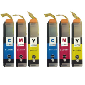 2 Go Inks Set of 3 C/M/Y Ink Cartridges to replace Brother LC125XL Compatible / non-OEM for Brother DCP & MFC Printers (6 Inks)