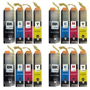 4 Go Inks Set of 4 Cartridges to replace Brother LC223 Compatible / non-OEM for Brother DCP & MFC Printers (16 Inks)