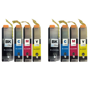 2 Go Inks Set of 4 Cartridges to replace Brother LC223 Compatible / non-OEM for Brother DCP & MFC Printers (8 Inks)