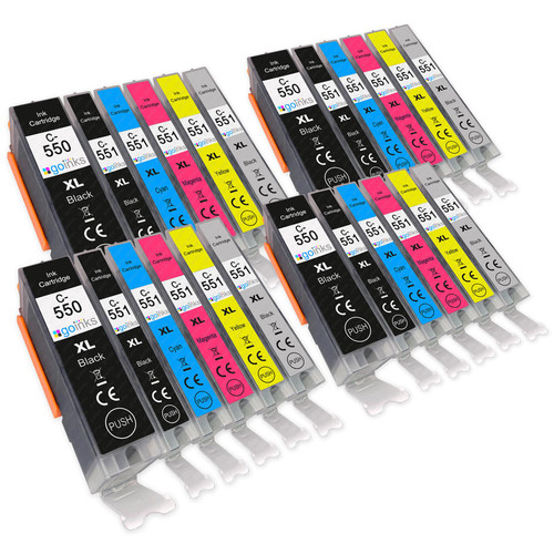 4 Go Inks Set of 6 Ink Cartridges to replace Canon PGI-550 & CLI-551 Compatible / non-OEM for PIXMA Printers (24 Pack)