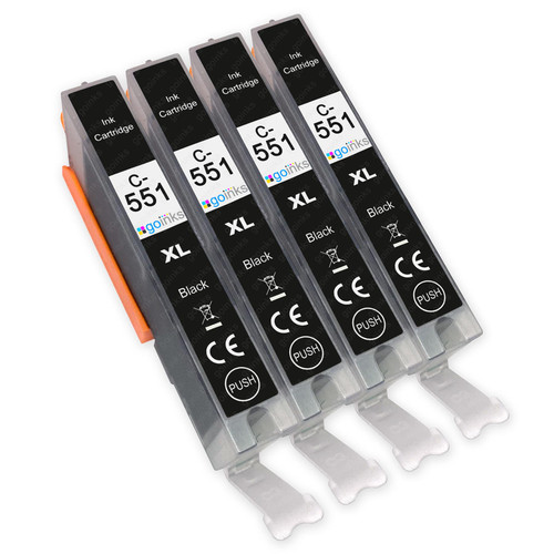 4 Go Inks Black Ink Cartridges to replace Canon CLI-551Bk Compatible / non-OEM for PIXMA Printers