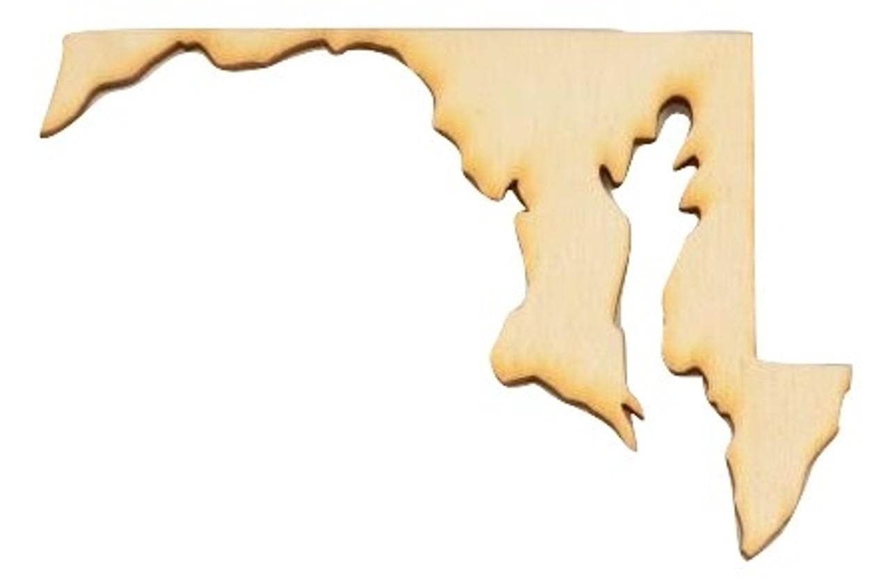 Maryland Unfinished Wood Shape Cutout Variety Sizes USA Made Home Decor