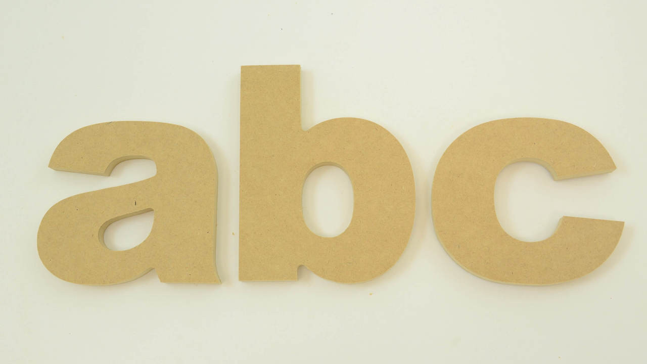 MDF Letters in the Arial Font | Thick | Lower Case