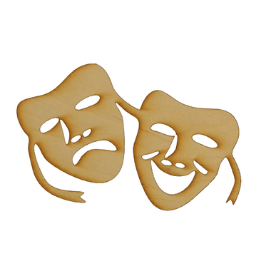 Drama Faces Laser Cut Out Wood Shape Craft Supply Unfinished