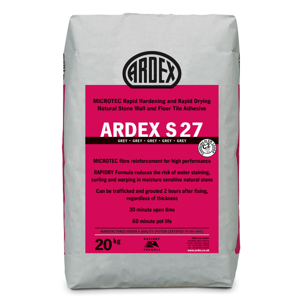 Ardex S 27 Microtec Flexible Rapid Set Tile Stone Adhesive Grey