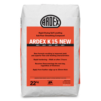 ARDEX K 15 NEW Rapid Drying Heavy Duty Self-Levelling Smoothing Compound 22kg