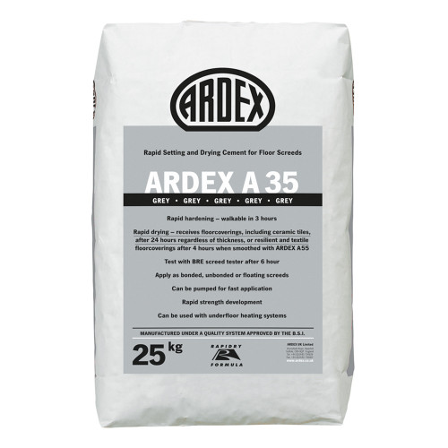 ARDEX A 35 Ultra Rapid Drying Cement for Internal Screeds Grey 25kg