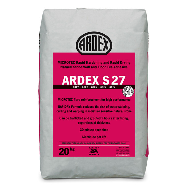ARDEX S 27 MICROTEC® Flexible Rapid Set Tile & Stone Adhesive Grey 20kg