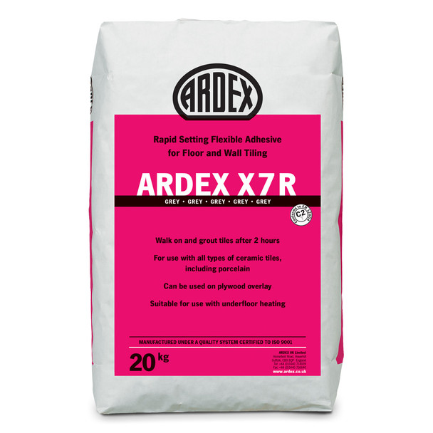 ARDEX X 7 R Flexible Rapid Set Tile Adhesive Grey 20kg