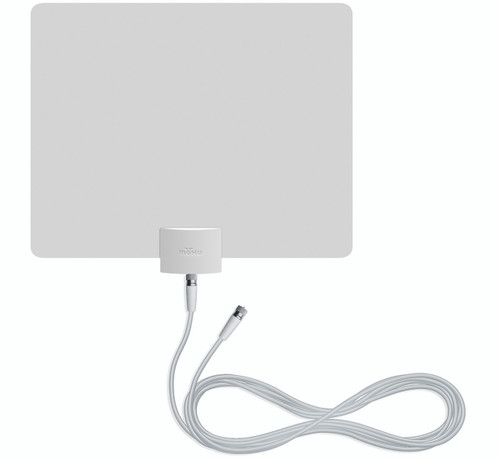 mohu leaf plus tv antenna white side with coaxial cable