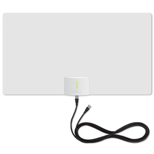 mohu leaf supreme pro antenna white side with lights and cable
