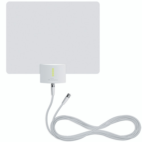 mohu leaf ultimate front view of antenna white side with white coaxial cable