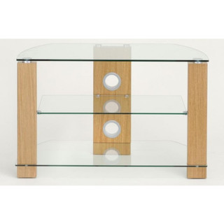 L630-800-3OC Vision 800mm Light Oak and Glass Stand