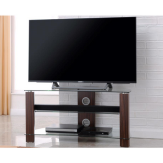 L640-1000-3W Vision Curve 1000mm Walnut and Glass Stand
