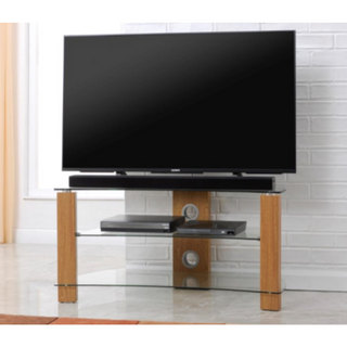 L640-1200-3O Vision Curve 1200mm Light Oak and Glass Stand