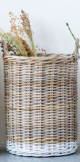 NATURAL RATTAN BASKET W/ HANDLES-DIPPED WHITE-MED