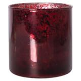 ROUND MERCURY GLASS VOTIVE-CRANBERRY