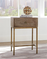 WHITE WASHED & GOLD SIDE TABLE