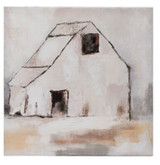 """18""""SQUARE HAND -PAINTED CANVAS WALL DECOR W/ BARN"""