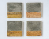 """4"""" CEMENT & WOOD COASTERS SET / 4"""
