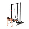 Model using resistance bands attached to CAP Strength Power Rack Exercise Stand