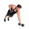 Modeling exercising with CAP PVC-Coated Hex Dumbbell with Contoured Chrome Hand Grip