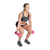 Model squatting with CAP PVC Coated Color Hex Dumbbell, 3 lb, pink
