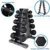 CAP Barbell 200(10-30) LB PVC-Coated Hex Dumbbell Set with 5-tier Rack Stand