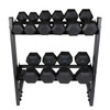"CAP Barbell 200(10-30) LB PVC-Coated Hex Dumbbell Set with 28"" Horizontal Rack Stand"