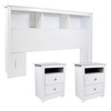 CAP Living Wood Bookcase Headboard with Storage, Bedroom Bookcase Headboard, Queen Size & TWO Multipurpose Wood Night Stand, End Table, Accent Table with 2-drawer SET - Solid White