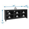 """CAP Living Wood 70"""" TV Stand Console Table with Open Storage Shelves for TV up to 60"""", Black Oak"""