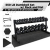 """CAP Barbell Rubber Hex 550-pound Dumbbell Set with 2-Tier 65"""" Rack and Mat, 5 - 50LB Pairs"""