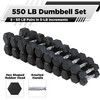 CAP Barbell Rubber Hex 550-pound Dumbbell Set, 5 - 50LB Pairs, DUMMBELLS ONLY