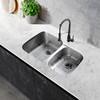 """CAPHAUS Undermount 60/40 Double Bowl 16 Gauge Stainless Steel Kitchen Sink, 32-1/4"""""""