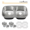 CAPHAUS Undermount 50/50 Double Bowl 16 Gauge Stainless Steel Kitchen Sink, 32-1/2""