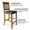 CAPHAUS Solid Wood Barstools, Rack Back, Set of 2, Walnut