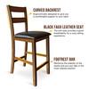 CAPHAUS Solid Wood Barstools, Ladder-Back, Set of 2, Walnut