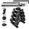 CAP Barbell 100-Pound Dumbbell Set with 4-Tier A-Frame Black Rack