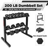 """Rubber Coated Hex Dumbbell Set 10-30Lb with Two Tier 30"""" Storage Rack"""