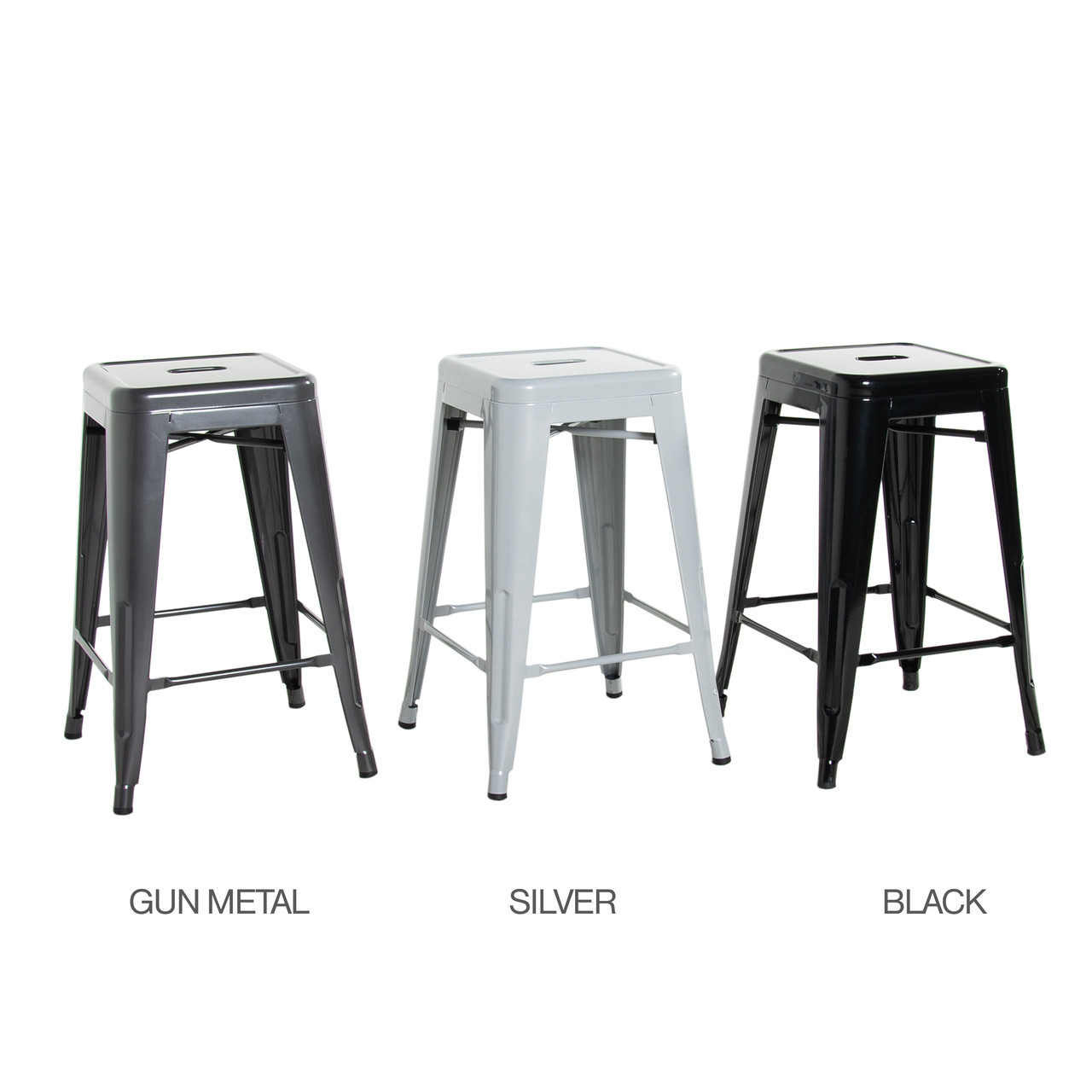 Admirable Cap Living Set Of 4 Stackable 24 Inches Sturdy Square Seat Metal Bar Stools Colors Available In Glossy Black Silver Or Dark Gunmetal Machost Co Dining Chair Design Ideas Machostcouk