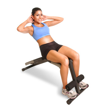 Model using CAP Flat/Incline/Decline Bench to workout abs