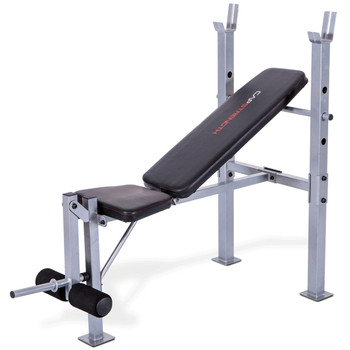 CAP Strength Standard Bench with Leg Developer, angled view