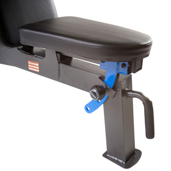close up of seat adjustment for Fuel Pureformance Flat/Incline/Decline Bench