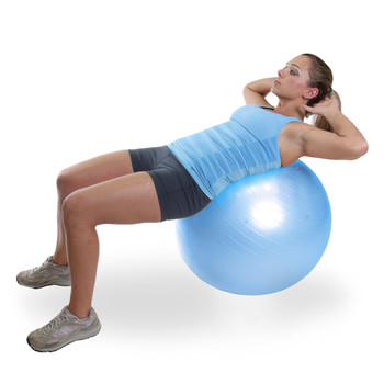 Model doing sit-ups on CAP Fitness Gym Ball