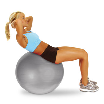 Model doing sit up on CAP Fitness Gym Ball, Silver, 65 cm