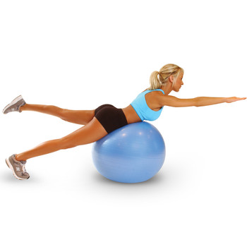 Model working out on Tone Fitness Anti-Burst Gym Ball