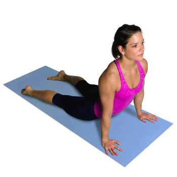Model doing yoga poses on CAP Fitness Yoga Mat